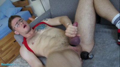 Kell Fuller likes a dildo stretching his hole while jacking off