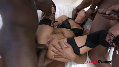 July Sun interracial gangbang 4on1 DAP and DP