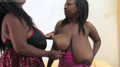 huge tit black sistas in black and pink bra licking each other