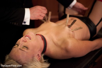 Description Naked slut submits to electro-torture