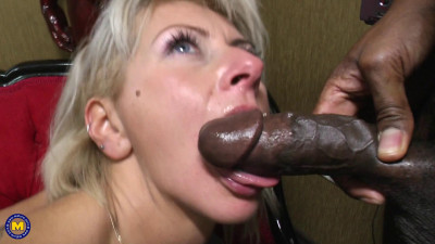 Mature lady going interracial