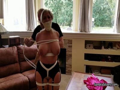 Sandra Silvers – Startled by Burglar, Disrobed Buxom MILF Damsel gets Gagged