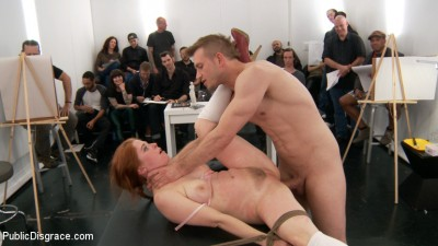 Slutty redhead shocks art students by taking giant cock in all holes