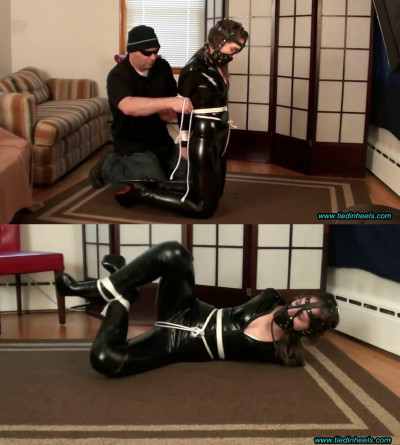 Super bondage, dominaton and hogtie for sexy girl in latex part2