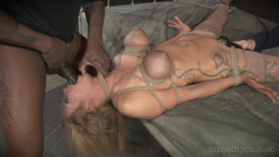Rain DeGrey Big Breasted Blonde Rain DeGrey Tightly Tied, Brutal Deepthroat On BBC