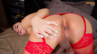 Mon Cums In Red Lingerie