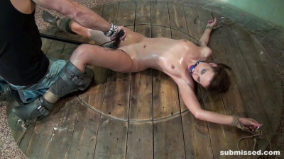 Jenny Bound Spreadeagle Ballgagged dildoed vibed