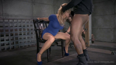 Blonde MILF Simone Sonay worked over hard by 2 cocks!