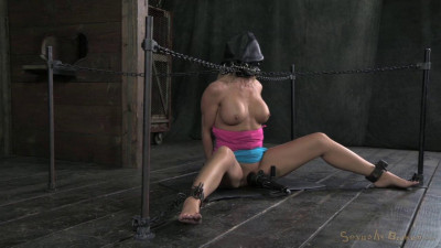 Stunning MILF Simone Sonay chained down, hooded, multiple orgasms while sucking, brutal deepthroat!