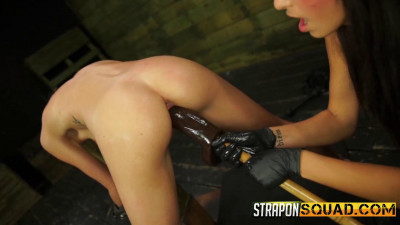 StraponSquad Halle Von Endures Lesbian Domination and Rough Sex with Marina Angel