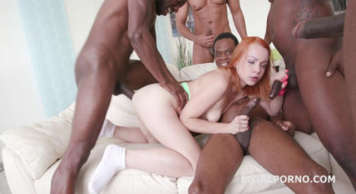 Hard interracial gangbang for russian babe