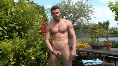 Straight Hunk Tyler Shows His Massive Uncut Cock, Wanks And Shoots Big!