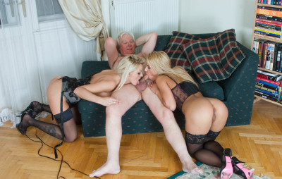 Two sexy blondes Nikky Thorne and Zafira May take on mature cock!