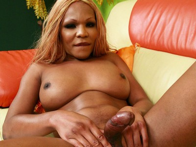Blonde Ebony Shemale In Pink