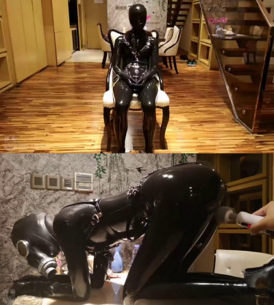 Super bondage, spanking and torture for sexy model in latex