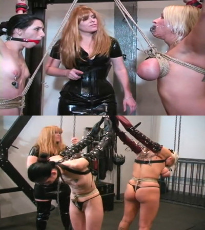 Hard bondage, domination and torture for two naked bitches