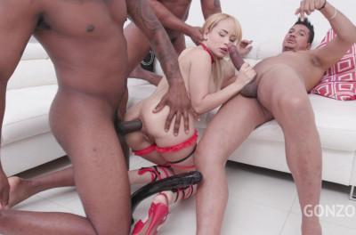 Interracial anal gangbang with DP for russian babe Natasha Teen
