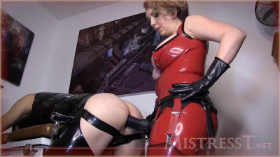 Mistress T - Latex Gimp Takes Huge Lady Cock
