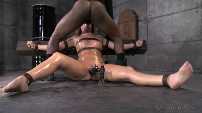 Maddy O'Reilly Gets Restrained And Throatboarded By 2 Huge Cocks