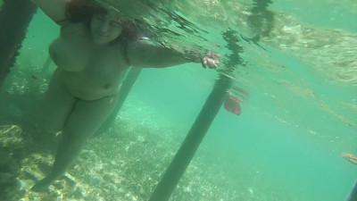 busty bbw redhead milf under water fun