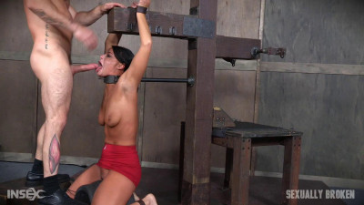 Description London River Bound Over Sybian and Face Fucked