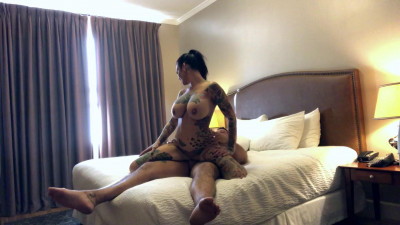 tattoed big tit slut Jordan fucked in the hotel 1080p