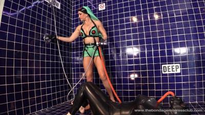 Mistress Miranda And Serious Bondage In Shower Black