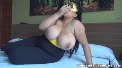 huge boob milf latina teasing herself