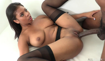 Naturally Stacked Ebony Babe Meets Big Black Cock