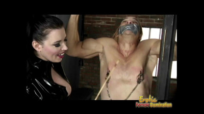 Mistress In Latex Catsuit Whips and Binds Her Male Captive - HD 720p