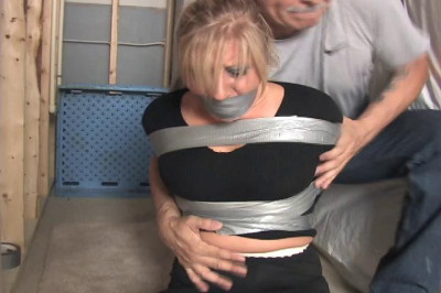 Crystal Frost-Blond girl finds herself taped up and gagged