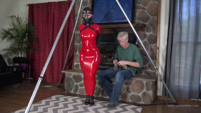Red Hobble Dress and Lots of Bondage