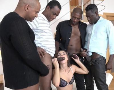 White bitch gangbanged & creampied by many big black cocks