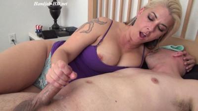 big tit milf in blue top masturbates dick hard