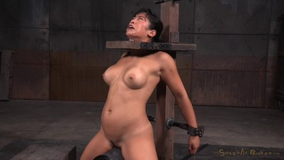 Busty Asian Mia Li Shackled To Sybian Throatboarded Without Mercy Two Hard Cocks (2015)