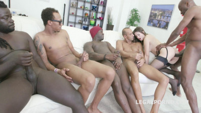 Petite Gariella Lati Gangbanged By 5 Gigant Black Dicks With DP