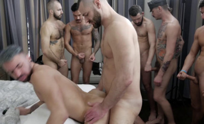 Deep orgy with brutal males