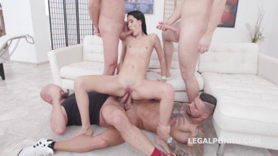 Description Skinny Megan Venturi Gangbanged & Dap'ed By 8 Guys