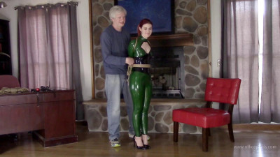 Green Latex Catsuit and Jute Rope