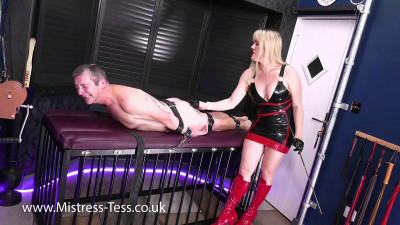 Mistress Tess - Strapped Down For Caning