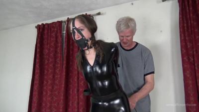 Rachel Adams – Leather Bondage in a PVC Catsuit