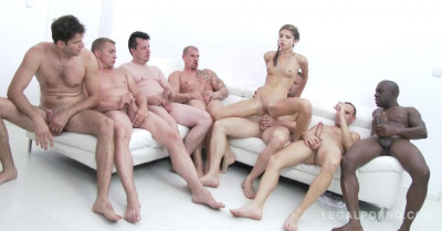 Petite Babe Gina Gerson Gangbanged By 10 Men With DP