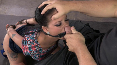 Tiny Raven Bay fucks and sucks two hard cocks, brutal deepthroat on BBC, multiple orgasms!