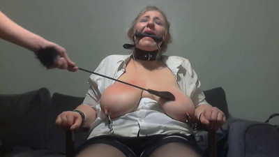 Description Amateur Bbw Slave Training - Ass and huge natural boobs whipped hard