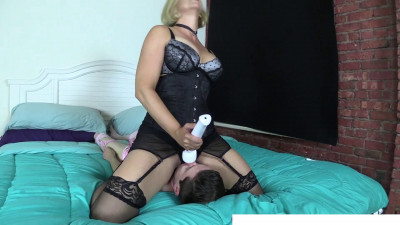 She sat down on her face and turned on the vibrator.