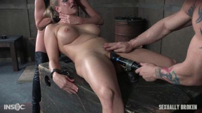 Bound and helpless, Big titted blond is deepthroated, face fucked and made to cum over and over!