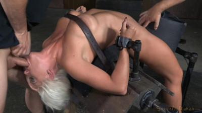 Big breasted slut bent over backwards with brutal drooling deepthroat!