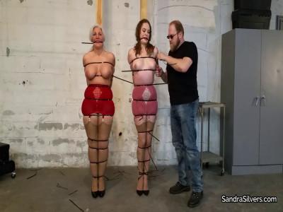 Brutal Ziptie Bondage and Heads Encased On Screen for Lingerie-Clad