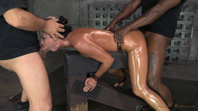Description India Summer shackled down and used hard by two cocks
