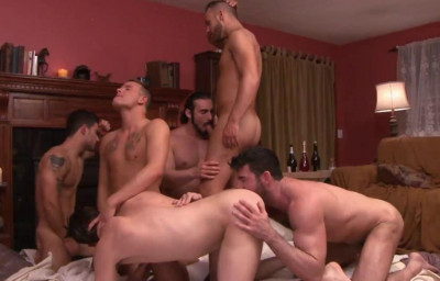 First Gang Bang With Many Muscle Males